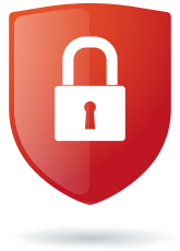 an image of a red shield with a padlock icon centered inside.