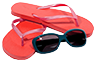 image of flip flops and sunglasses