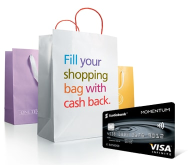 bag of shopping and the Momentum Infinite VISA card