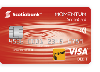 Image of The Scotiabank Momentum Chequing Account card