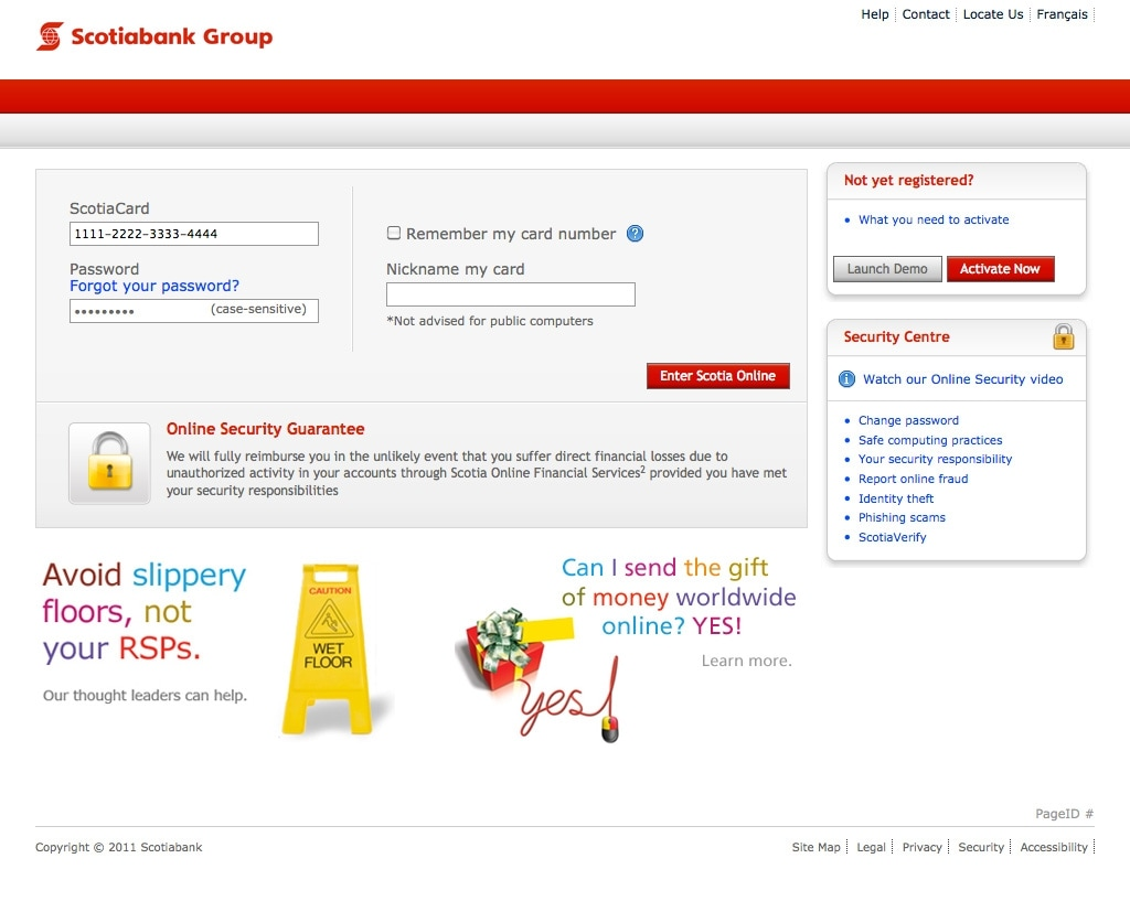 Scotia OnLine Sign-on Page