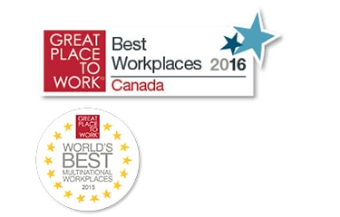 Great Place to Work and Best Multinational Workplace logos