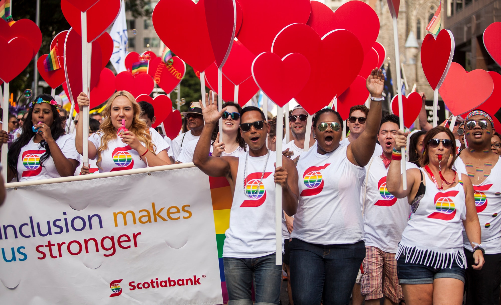 Scotiabankers marching in the 2016 Toronto Pride Parade.