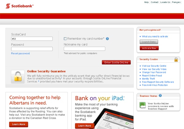 Scotia OnLine Sign-on Page with Express Sign-on