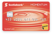 A photo of the Scotiabank Momentum debit card
