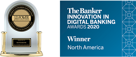 Awards for Best Bank in North America for Innovation in Digital Banking by The Banker and #1 in Customer Satisfaction with Online Banking by J.D. Power