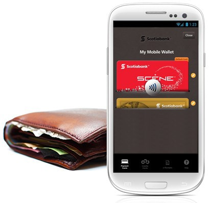 photo of a phone with scotiabank mobile wallet app on the screen