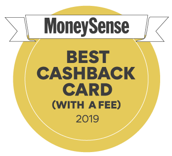 Winner of the 2019 MoneySense Best cash back card (with a fee) award.