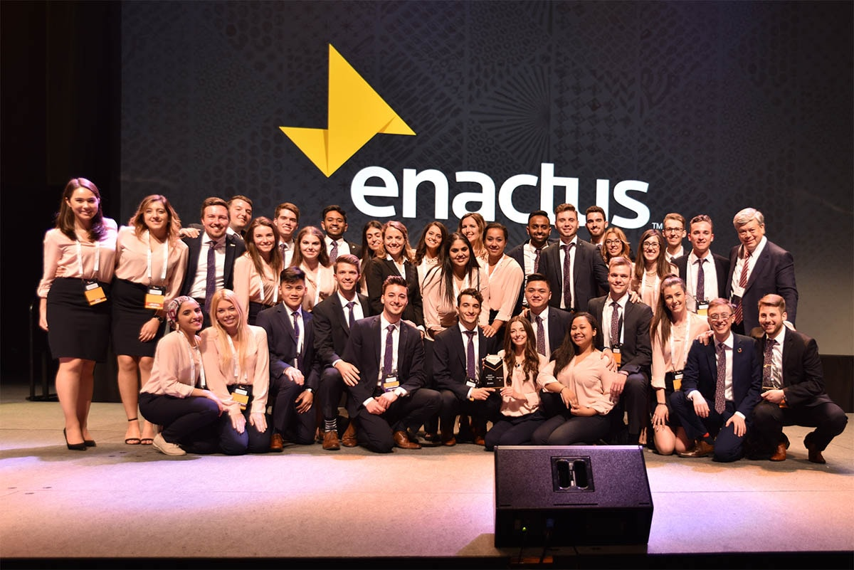 Enactus Windsor students celebrate their win of the Scotiabank Youth Empowerment Challenge in Vancouver.