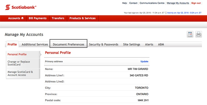 how to find account number scotiabank online