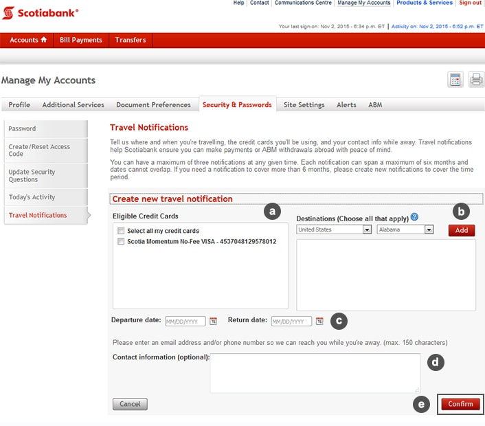 travel notifications scotiabank